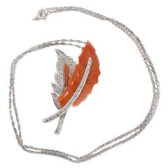 Italian Coral Diamond Leaf Gold Necklace