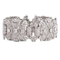 Antique  Deco Diamond Platinum Filigree Wide Bracelet