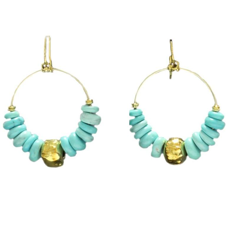 Turquoise Gold Hoop Earrings For