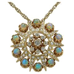 Opal, Seed Pearl and Diamond Necklace Pendant Brooch