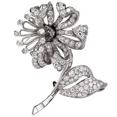 Diamond Flower Platinum Brooch Pin