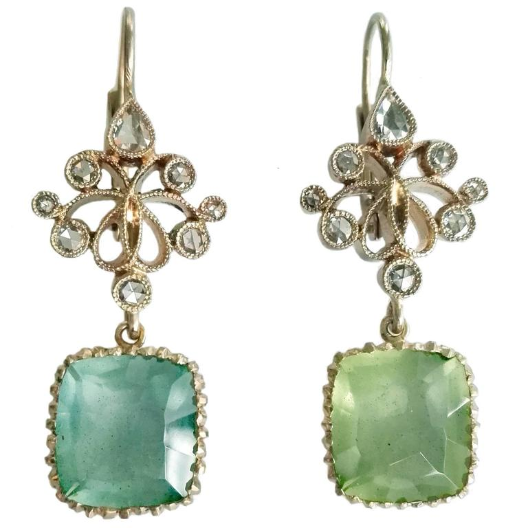 Dalben Aquamarine Diamond Gold Earrings For Sale
