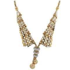 Stylish Gold and Platinum Diamond Collar Necklace
