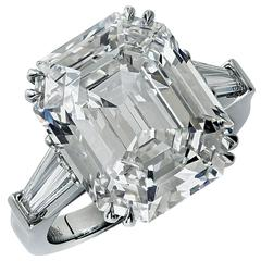 Stunning 10.21 Carat Emerald Cut Diamond Engagement Ring
