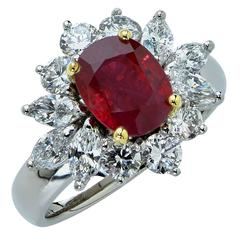 2.18 Carat Burma Ruby and Diamond Ring