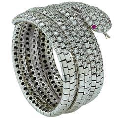 24 Carat Diamond Snake Bangle with Ruby Eyes