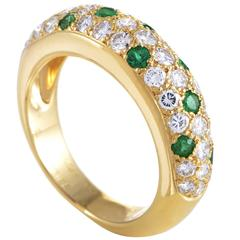 Cartier Mimi Yellow Gold Diamond and Emerald Pave Band Ring