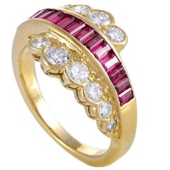 Van Cleef & Arpels Yellow Gold Diamond and Invisible Set Ruby Ring