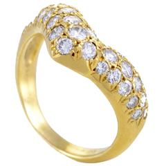 Van Cleef & Arpels Yellow Gold Curved Diamond Band Ring