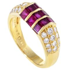Van Cleef & Arpels Yellow Gold Diamond Pave and Invisible Set Ruby Ring