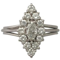 1960s German 1.29 Carat Diamond and White Gold Cocktail Ring