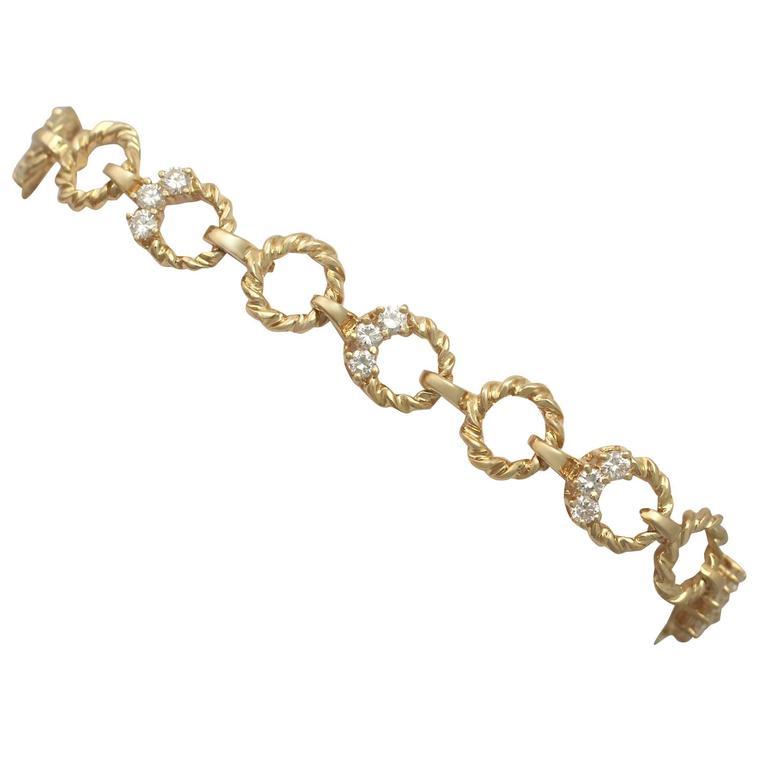 Vintage 1970s 0.81 Ct Diamond and 18 k Yellow Gold Bracelet
