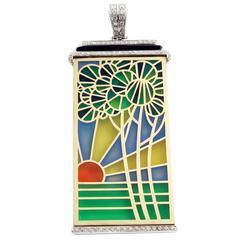 """Ver Sacrum"" Art Nouveau Enamel Onyx and Diamonds Pendant"