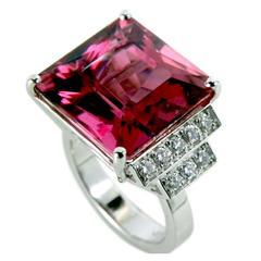 Red Tourmaline and Diamonds Ring