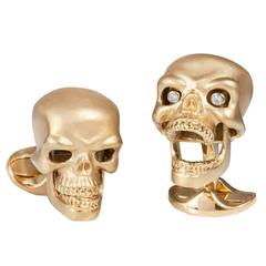 Deakin & Frencis Gold Plated Sterling Silver Skull Cufflinks with Diamond Eyes
