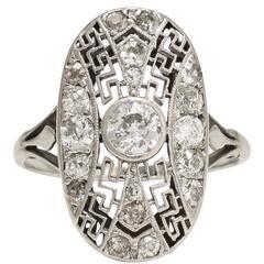 Art Deco  Greek Key Diamond Cluster Ring