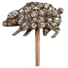 "Victorian Diamond ""Lucky Pig"" Gold Stick Pin"