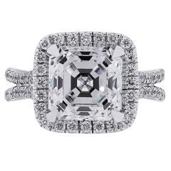 Uneek 14k White Gold Asscher Diamond Engagement Ring