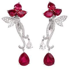 Modern French  Ruby Diamond Flower Earrings