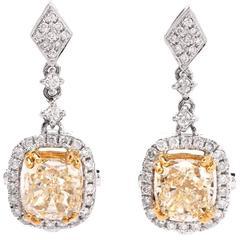 Modern Natural  Fancy light  Diamond  Gold Drop Earrings