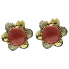 Red Coral Buttons, 18K Yellow Gold Flower Shape Clip-on Earrings