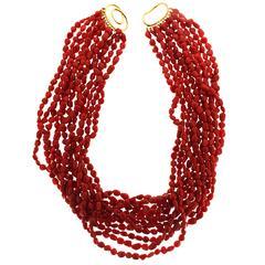 Twelve strands Dark Red Coral Pebble Necklace