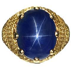 Boucheron Paris 19.10 Carat AGL Natural No Heat Star Sapphire Yellow Gold Ring