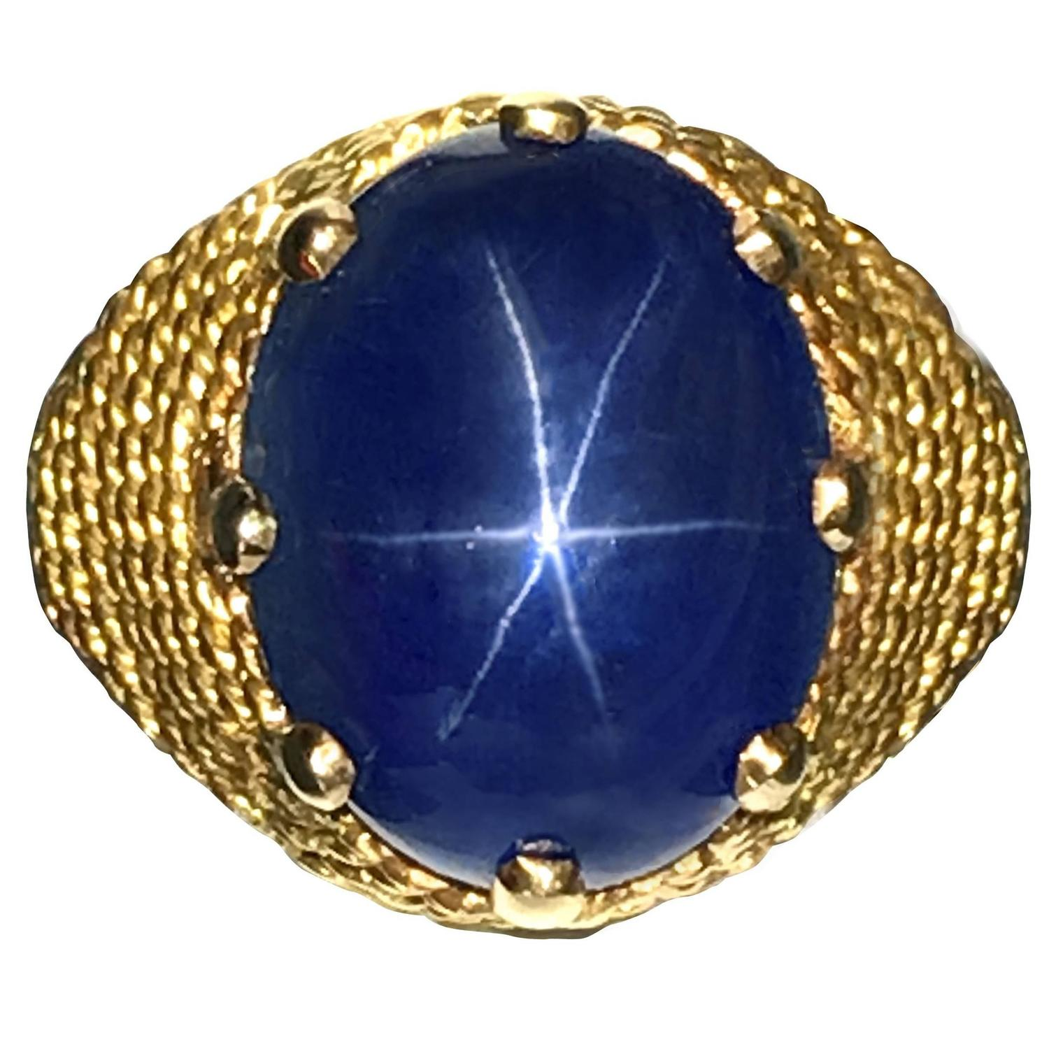 upscale ring blue sapphire star consignment gold diamond