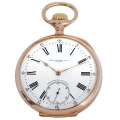 Patek Philippe Yellow Gold Relojoeiros Gondolo Open Face Manual Pocket Watch