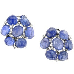 Sapphire and Diamond Cluster White Gold Earrings