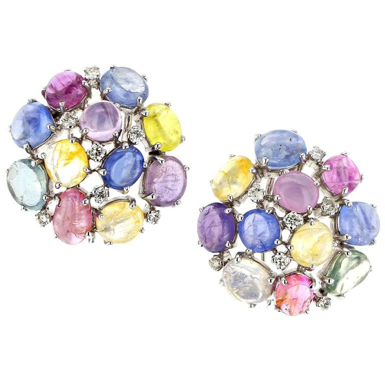 Fancy Color Sapphire Diamond Cluster White Gold Earrings