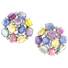 Fancy Color Sapphire Diamond Cluster White Gold Earrings