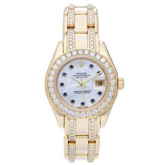 Rolex Ladies Gold Diamond Masterpiece Pearlmaster Automatic Wristwatch 80298