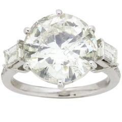 EDR Certified 5.23 Carat Transitional Diamond Solitaire Engagement Ring c.1940s