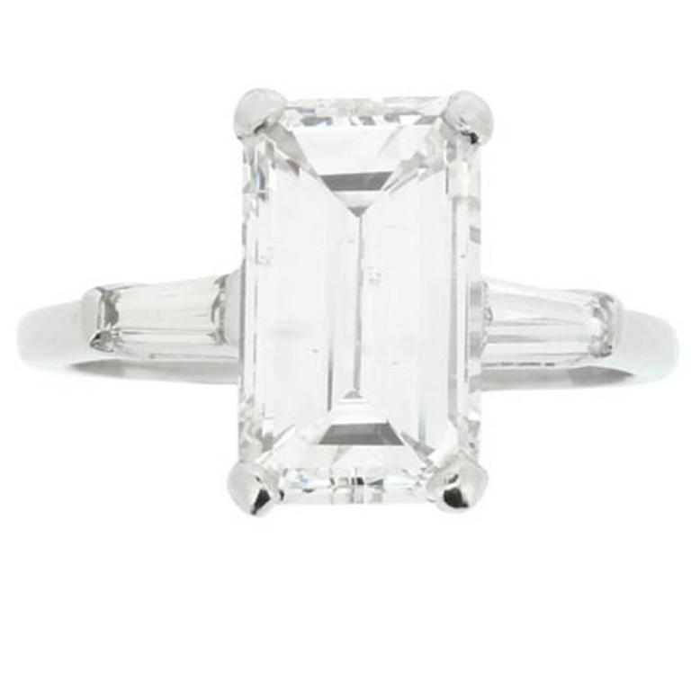 baguette ring art emerald diamond platinum cut deco
