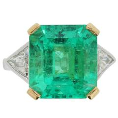 10.58 Carat Gubelin Certified Columbian Emerald and Diamond Ring c.1970s