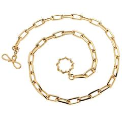 Gold Elongated Faceted Cushion Link Necklace