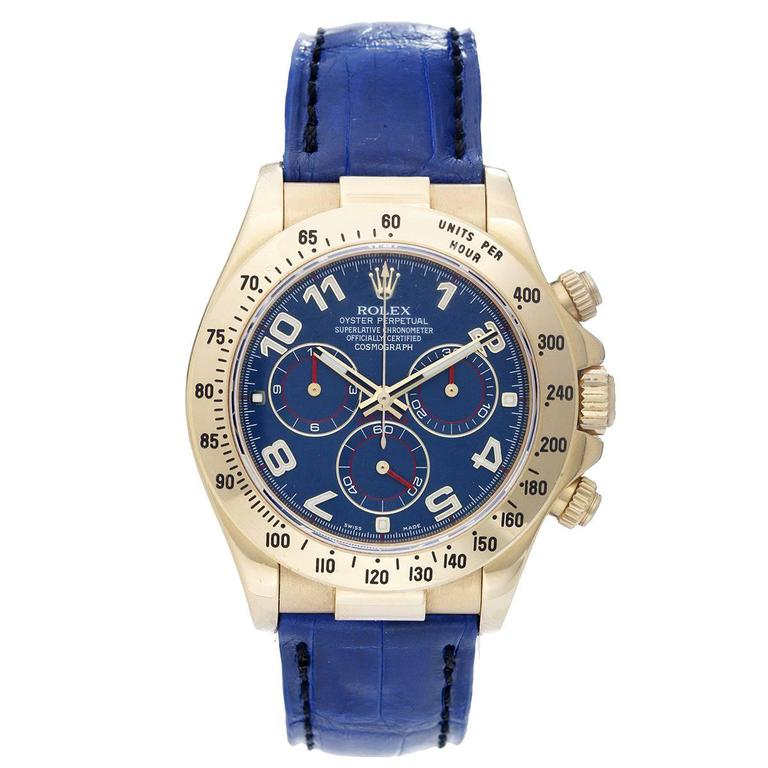 Rolex Yellow Gold Cosmograph Blue Dial Daytona Automatic Wristwatch 116518