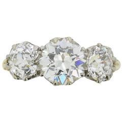 Victorian 3.40 Carat Three Stone Old Cut Diamond Ring c.1880s