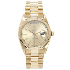 Rolex Yellow Gold Day-Date Champagne Dial President Automatic Wristwatch 18038
