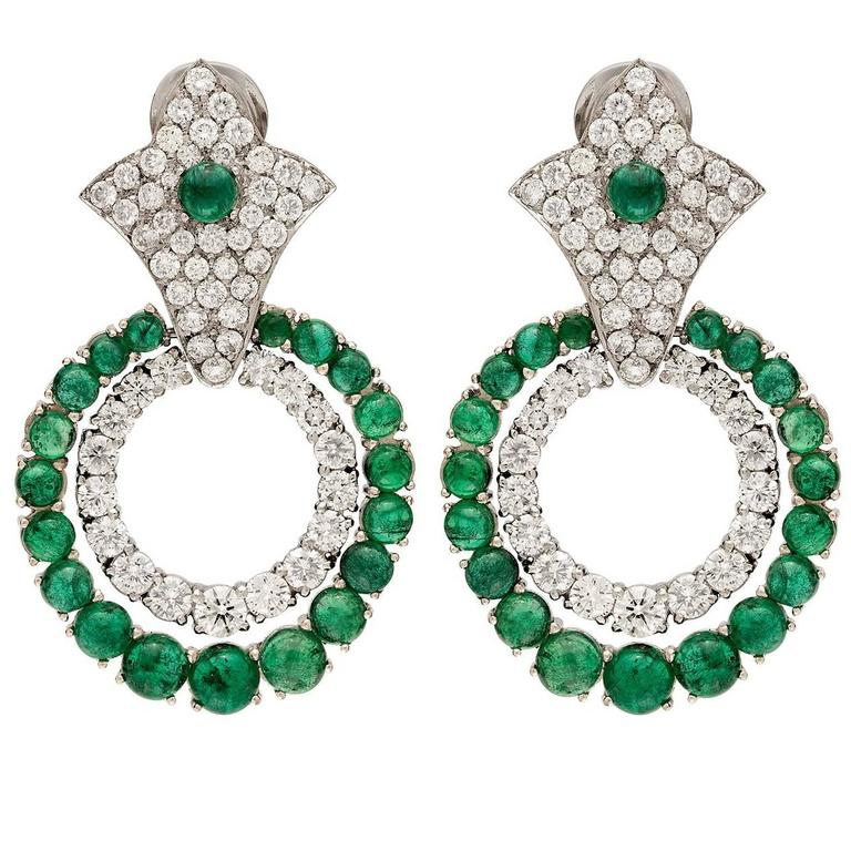 Emerald and Diamond Doorknocker Earrings