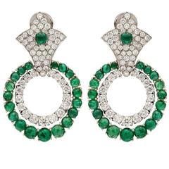 Emerald and Diamond Doorknocker Earrings