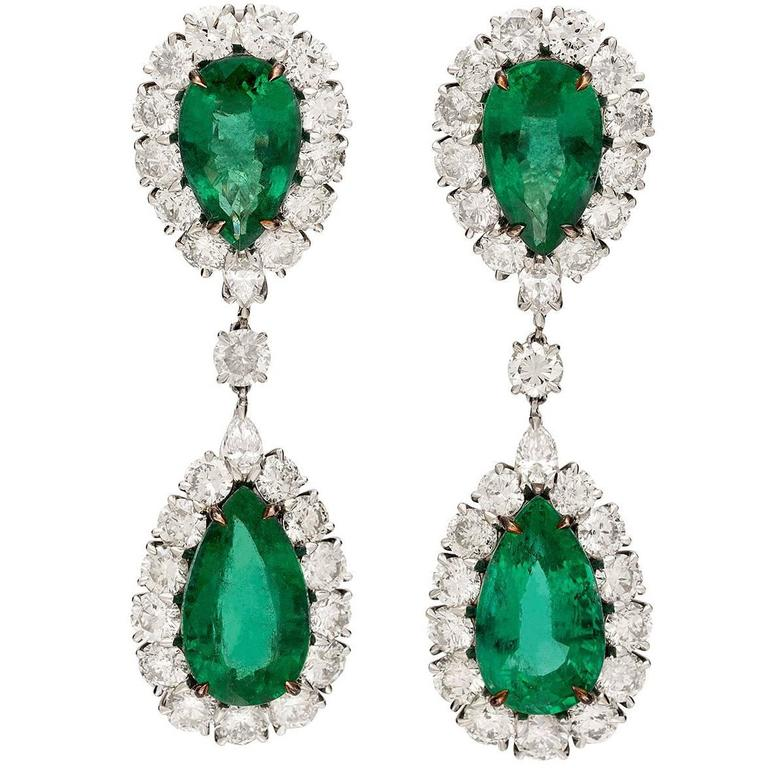 Pear Shaped Emerald and Diamond Drop Earrings For Sale