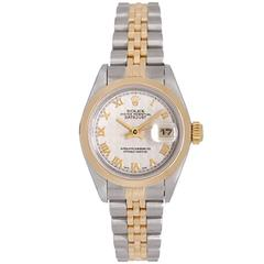 Rolex Ladies Yellow Gold Stainless Steel Datejust Automatic Winding Wristwatch