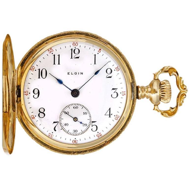 Elgin Ladies Yellow Gold Ornately Engraved Antique Manual Pocket Watch