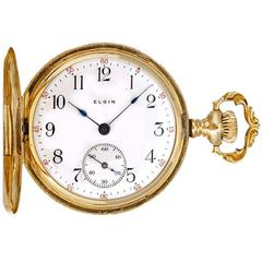 Elgin Ladies Yellow Gold Ornately Engraved Antique Manual Pocket Watch