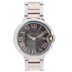 Cartier Rose Gold Stainless Steel Ballon Bleu Large Automatic Wristwatch