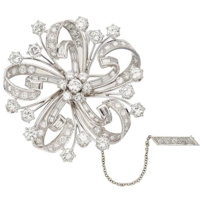 Diamond Floral Platinum Pendant-Brooch