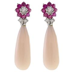 Luise Coral Drop Ruby and Diamond Earrings