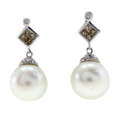 Fancy Diamond and Pearl Gold Earrings